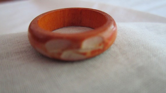 Vintage Ring Made of Wood with Etched Leaf Design