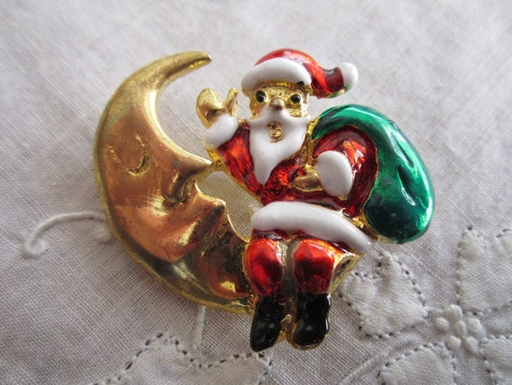 Vintage Gold Tone Crescent Moon Holding Santa Claus Brooch