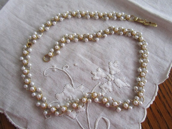 Vintage Gold Tone Link Necklace with Tiny Faux Pearls