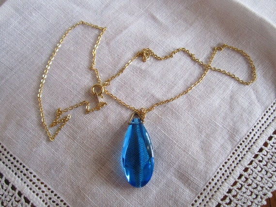 Vintage Gold Tone Necklace with Royal Blue Clear Pendant