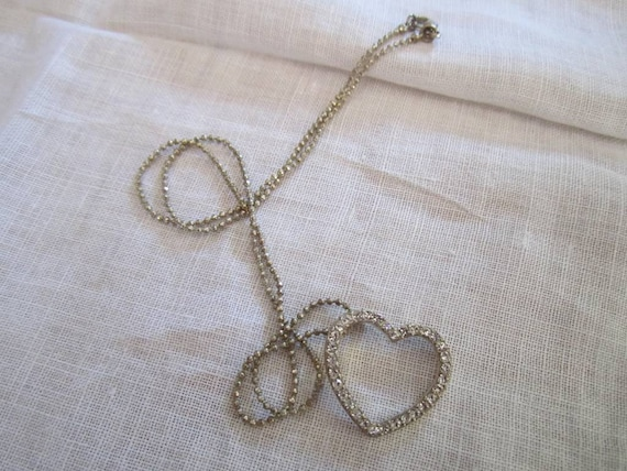 Vintage Silver Tone Delicate Chain with Open Heart Pendant Inset With Clear Rhinestones