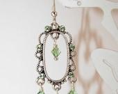 Peridot Dangle Earrings, Green Filigree Earrings, Green Crystal Earrings, Woodland Elf Earrings, Pretty Soft Green, Feminine Earrings