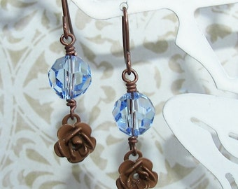 Rose Dangle Earrings, Brown And Blue, Swarovski Crystal Earrings, Light Ski Blue, Brown & Blue Earrings, Clearance Jewelry