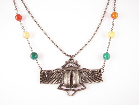 Items similar to Egyptian Scarab Beetle Necklace on Etsy