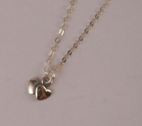 Small Double Heart Charm necklace Sterling silver Stocking Stuffer Holiday Gift