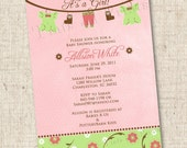 It's a Girl Clothesline or Birds Custom Baby Shower Invitation
