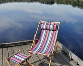 Sale! OOAK Oak Deck chair with removable bright striped Acapulco sling and pillow