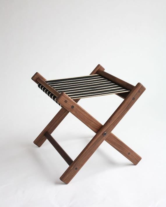 Kootenay stool: Black, Cream and tan Sunbrella striped stool or footstool