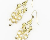 Golden Pearl Earrings - white pearls, gold filigree, gold accent earrings