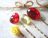 KARIN amber and burgandy bobby pin collection (gold)