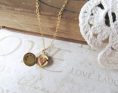 SECRET petite vintage locket necklace with single heart initial (brass) personalized gift