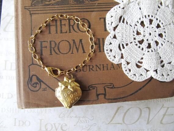 STRAWBERRY Fields plump juicy strawberry locket bracelet (gold) - LAST ONE