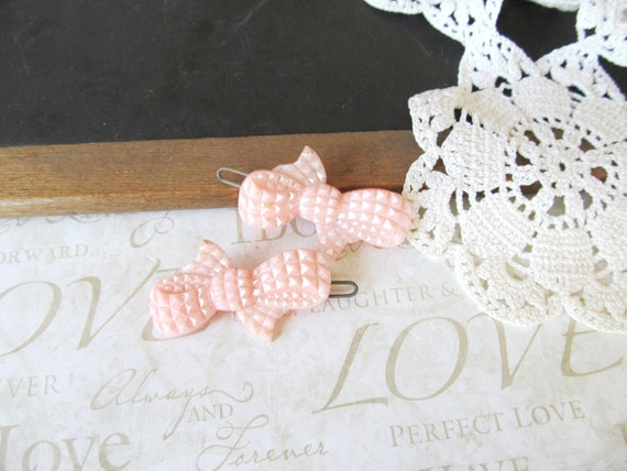 TIED UP vintage bow barrettes