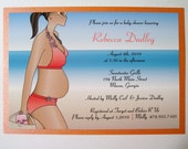 Baby Shower Invitation with Pregnant Woman in a Bikini on the Beach
