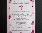 Anemones Floral Border and Cross Artwork Baby Baptism Invitation