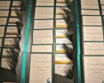 Peacock Feather Pocketfold Wedding Invitation Set