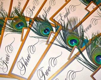 Double Backing Peacock Feather Wedding Table Numbers