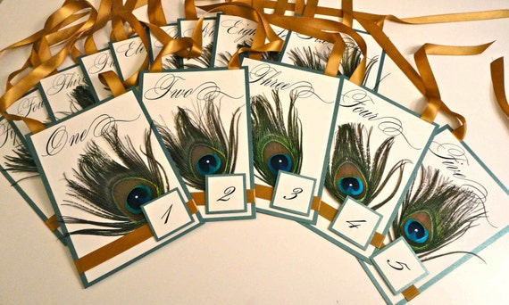 Hanging Peacock Feather Table Numbers