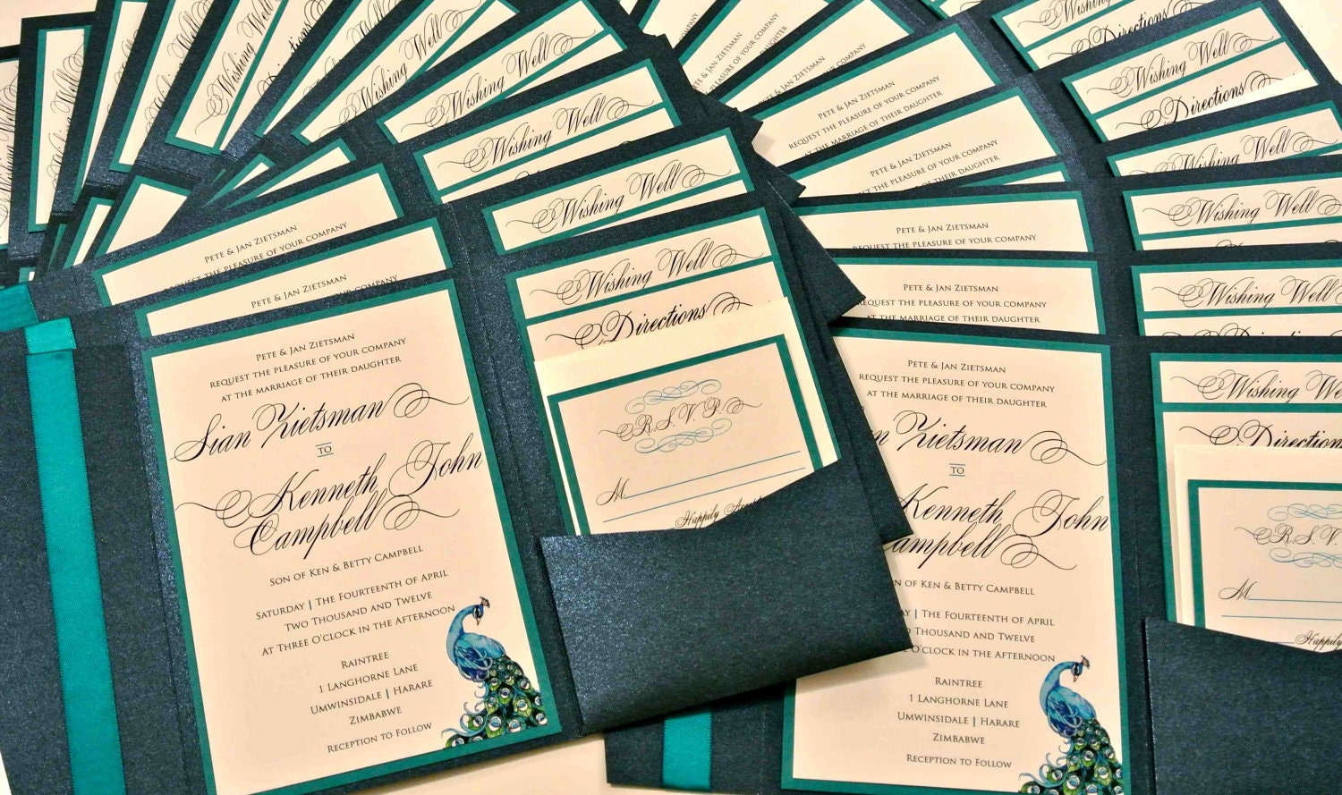 Custom Peacock Feather Pocketfold Wedding Invitation Set