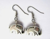 Elephant Earrings Charm Repurposed Button Animal Eco Friendly Jewelry by HendysHome