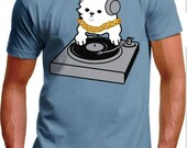 Men's XL Light Blue DJ Kitty T-Shirt