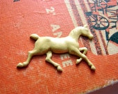 Tiny Running Horse or Pony Brass Stamping Pendant Charm with Yellow and Gold Faux Patina- Hand Painted- 2808-0723