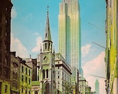 Vintage Postcard - Empire State Building - New York City - Marble Collegiate Church