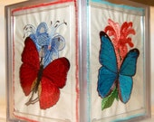 Embroidered Butterflies Tissue Box Holder Acrylic