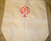 Embroidered Awareness Tree Canvas Tote Bag Natural 13x13x1.5