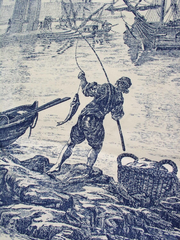 Last Piece Vintage Toile Fabric Nautical Fishermen Sailing
