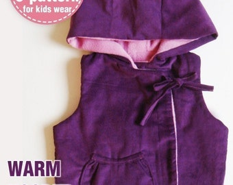 Warm Hoodie Vest PDF Patterns ((12 months upto age 6))