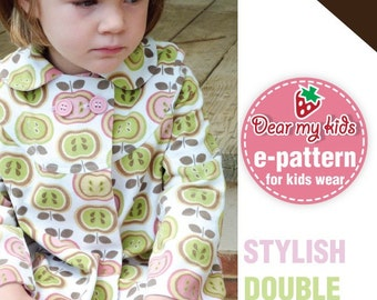 Stylish  kids coat - double breasted, peterpan collar ( Age 1 to 6 )PDF patterns