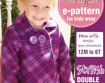 Stylish Double breasted, peterpan collar ( Age 1 to 6 )PDF patterns