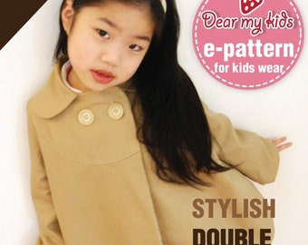 Stylish kids double breasted coat ( Age 1 to 6 ) PDF patterns