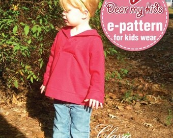 Unisex Shawl Collar Pullover  (12 months upto age 6) PDF patternFrom dmkeasywear