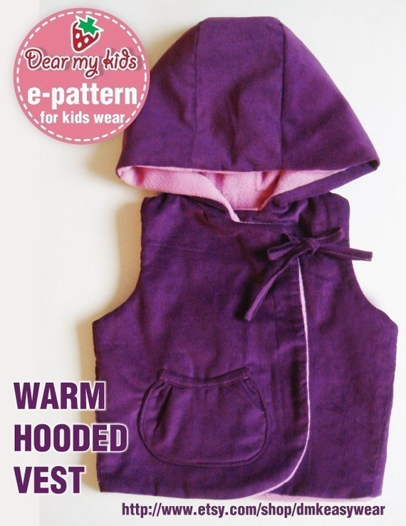 Warm Hoodie Vest PDF Patterns ((12 months upto age 6))