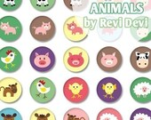 "Farm Animals 16237 - Printable Circle - Bottlecap size 1.313"" - Images for badge pin button, glass pebble magnet"