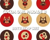Cocoa Owl Parade B 02192 -  Bottlecap size 1.313 x 1.313 inch - owls, trees