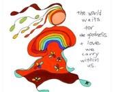 the world waits. colorful rainbow print. by rachel awes.
