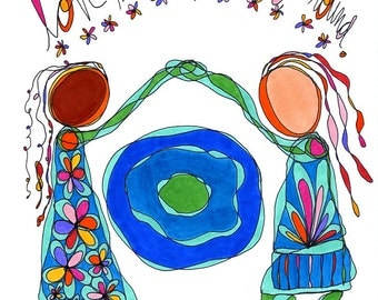 love makes the world go 'round. colorful print. by rachel awes.
