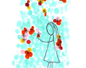 flower shower. print with girl and flowers. by rachel awes.