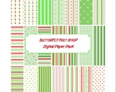 Digital Christmas Papers, Printable PDF Card Making, Scrapbooking
