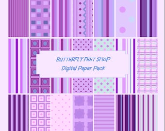 Purple Digital Paper, PDF Printable, Letter Size 8.5 x 11, Scrapbooking, Card Making, Instant Download, 21 patterned papers
