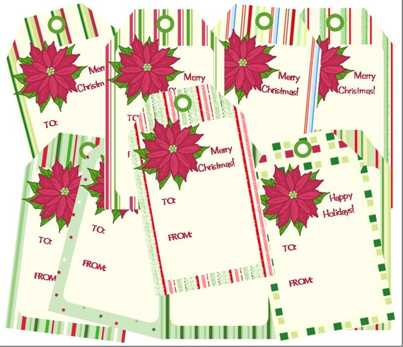 Christmas Gift Tags, Poinsettia Tags, Christmas Printable PDF, Instant Download, Gift Labels