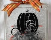 Fall Pumpkin DIY decal for glass block