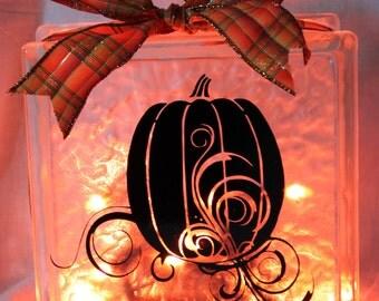 Fall or Halloween Lighted Glass Blocks