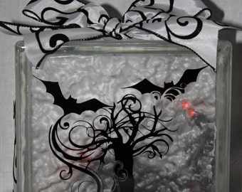 Fall or Halloween DIY decal for glass block