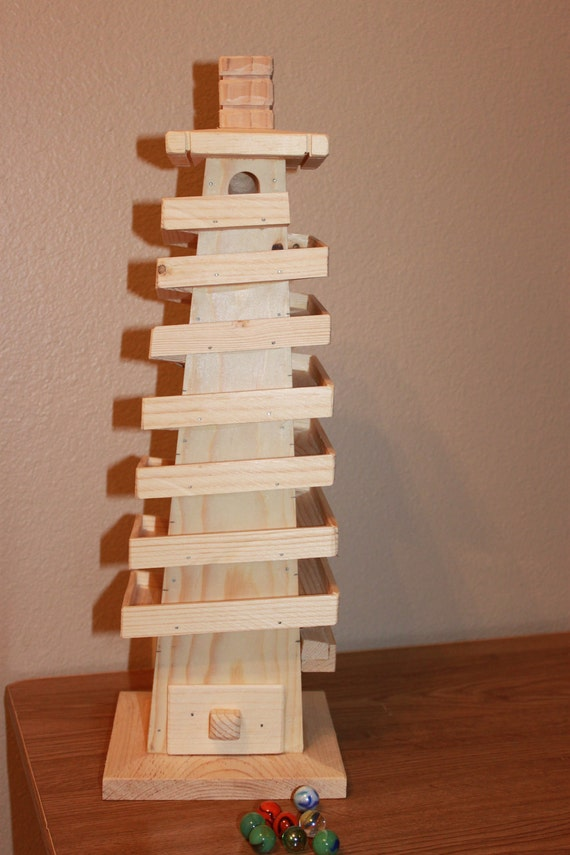 Wooden Marble Run Tower By Worldofakd On Etsy