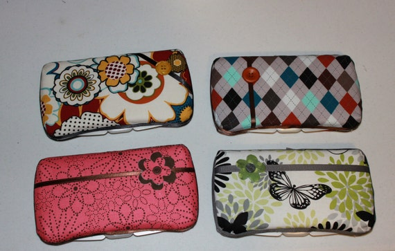 Fabric covered padded travel or baby wipes case  FREE shipping in US