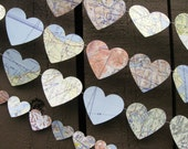 Map Heart Garland (small or large) - Reclaimed - Ecofriendly - Recycled